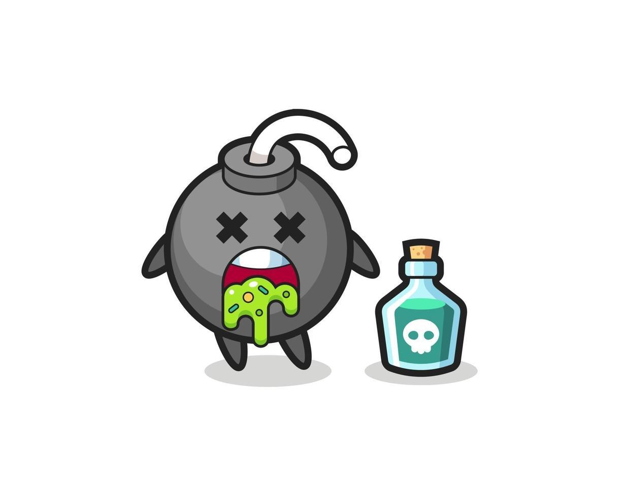 Ilustración de un personaje de bomba que vomita debido al envenenamiento vector