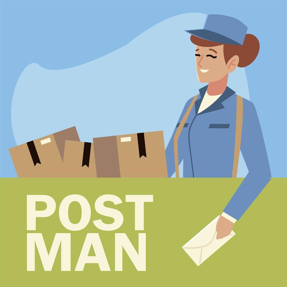 Trabajadora del servicio postal con sobres y cajas vector