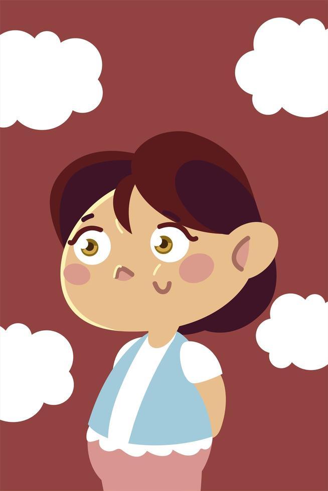 caricatura de personaje de niña feliz, niños vector