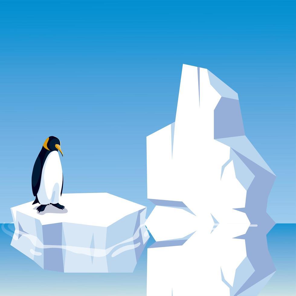 pingüino de pie sobre un iceberg en el polo norte vector