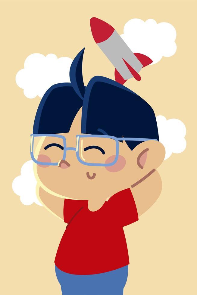 lindo niño con gafas y dibujos animados de juguete cohete, niños vector