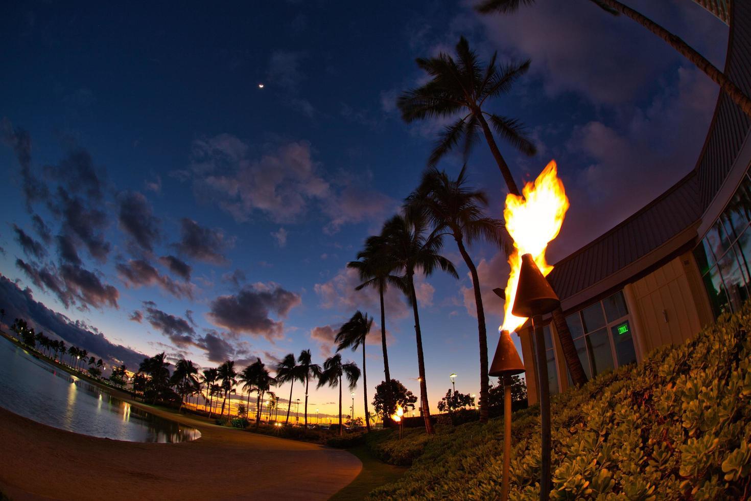 Sunset at waikiki beach hawaii photo