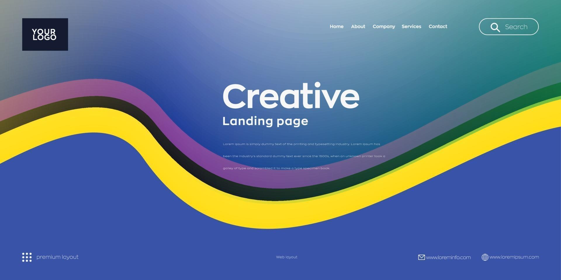 Landing page, Web header background with colorful line wave vector