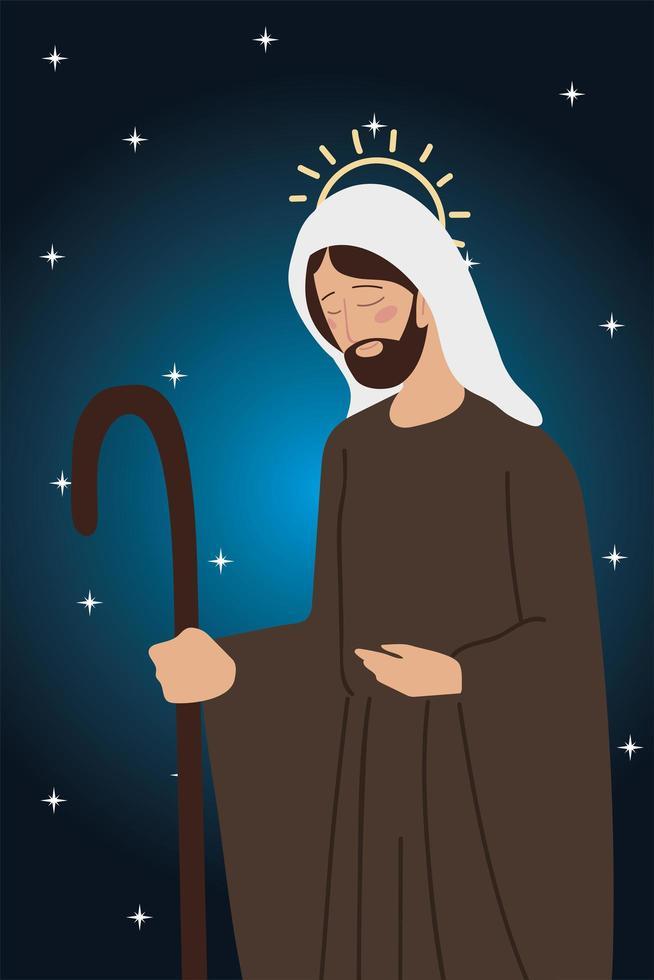 nativity character jospeph manger, stars background vector