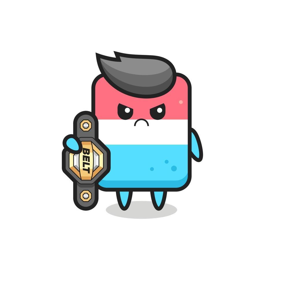 personaje de la mascota del borrador como un luchador de mma con el cinturón de campeón vector