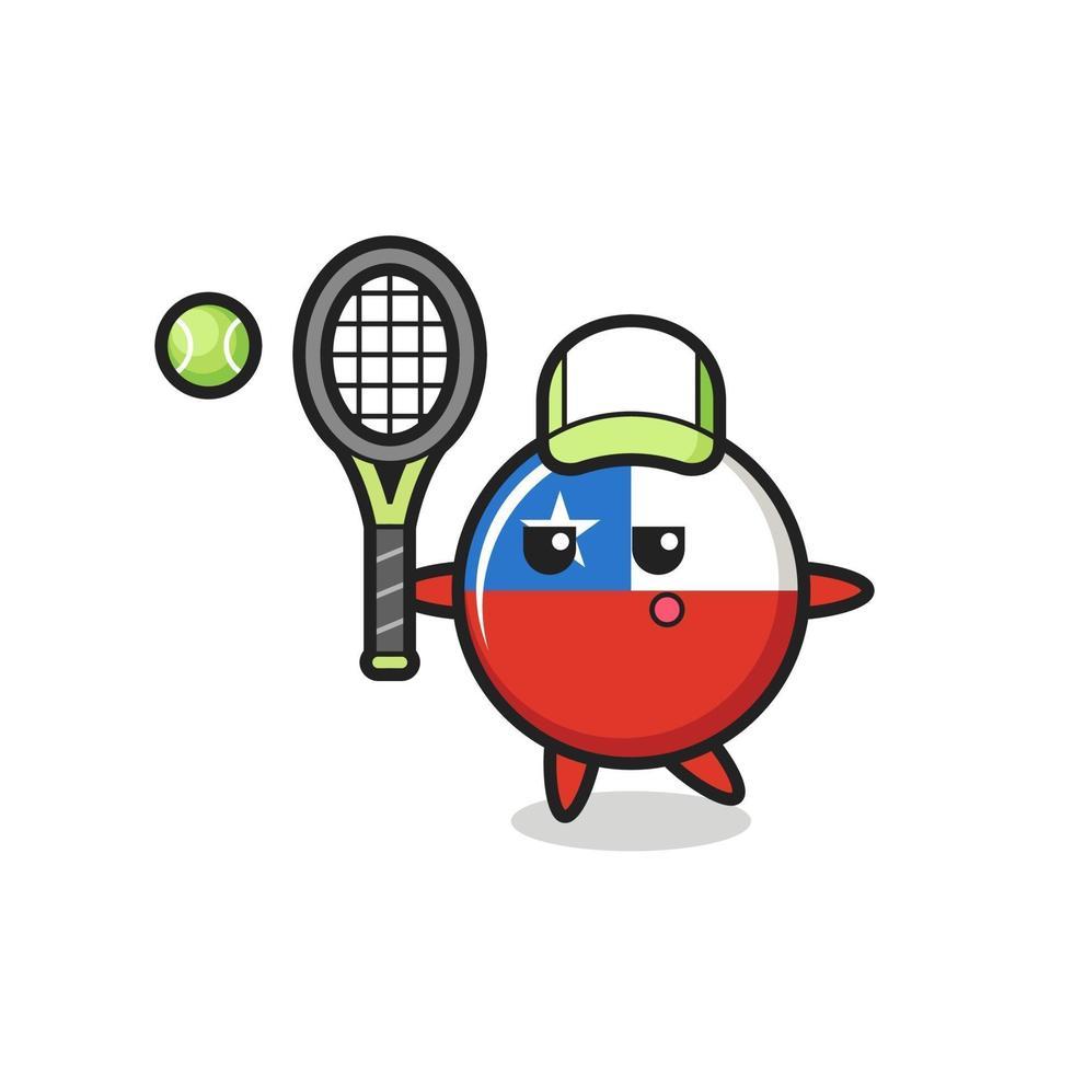 personaje de dibujos animados de la insignia de la bandera de chile como ten vector