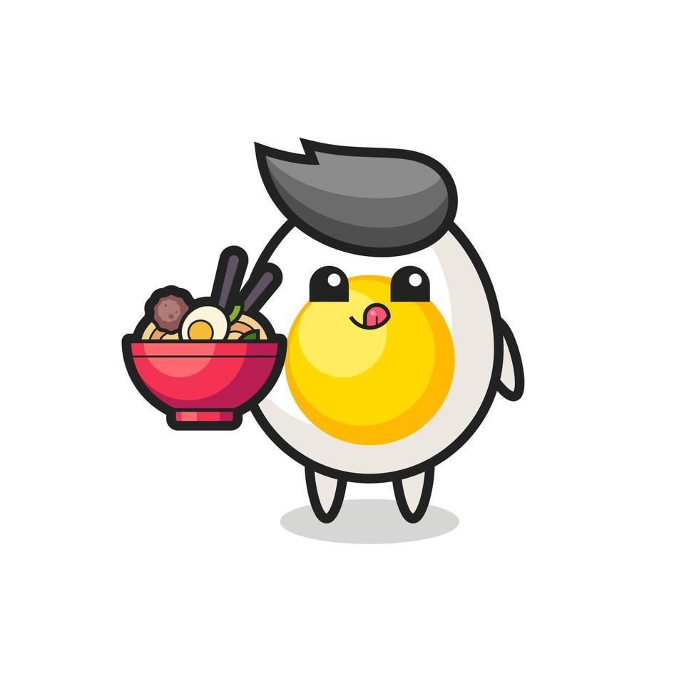 lindo personaje de huevo cocido comiendo fideos vector