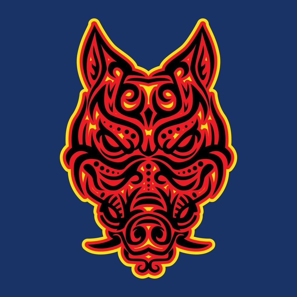 Ilustración de vector de cabeza de jabalí tribal
