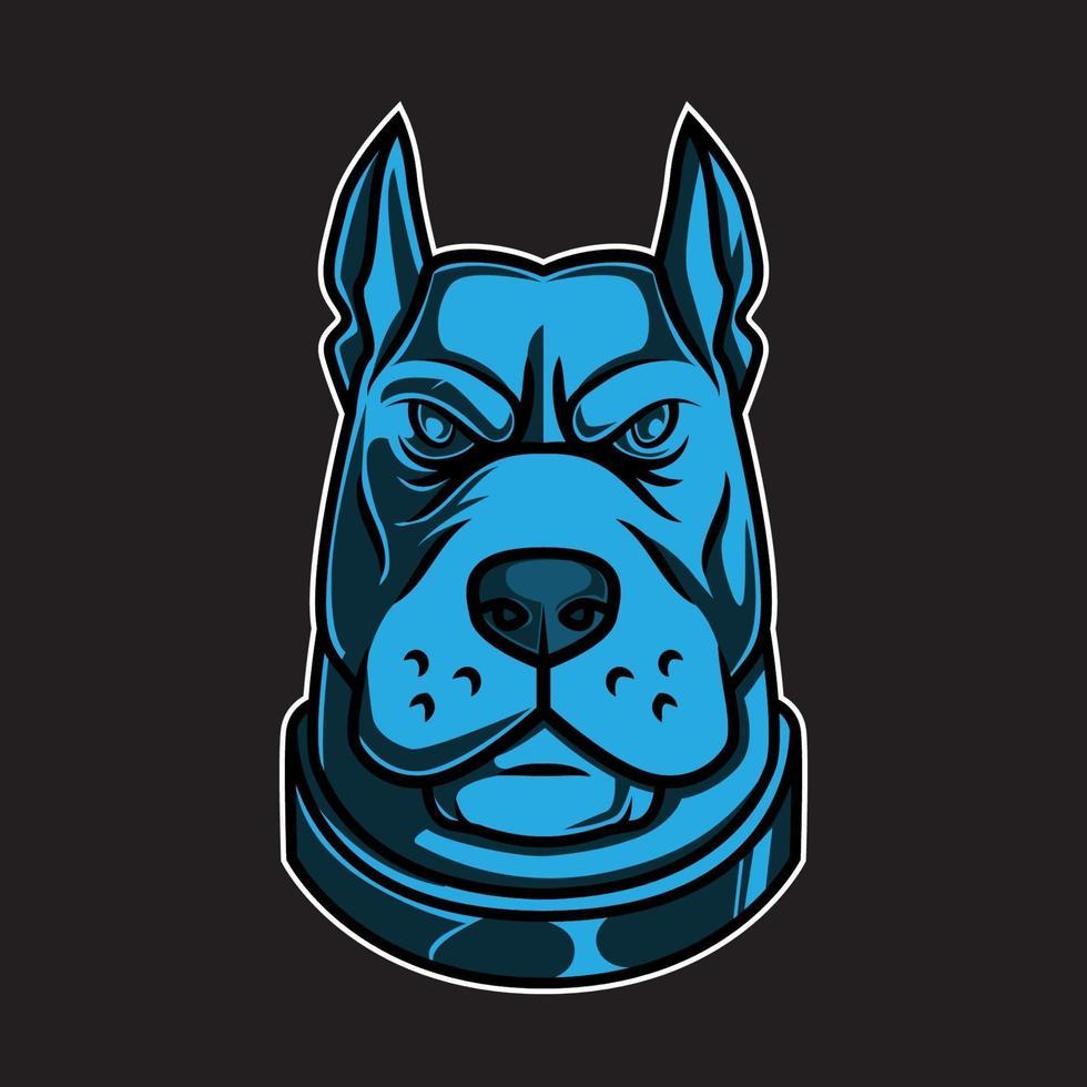 caricatura, pitbull, perro, mascota, cabeza vector