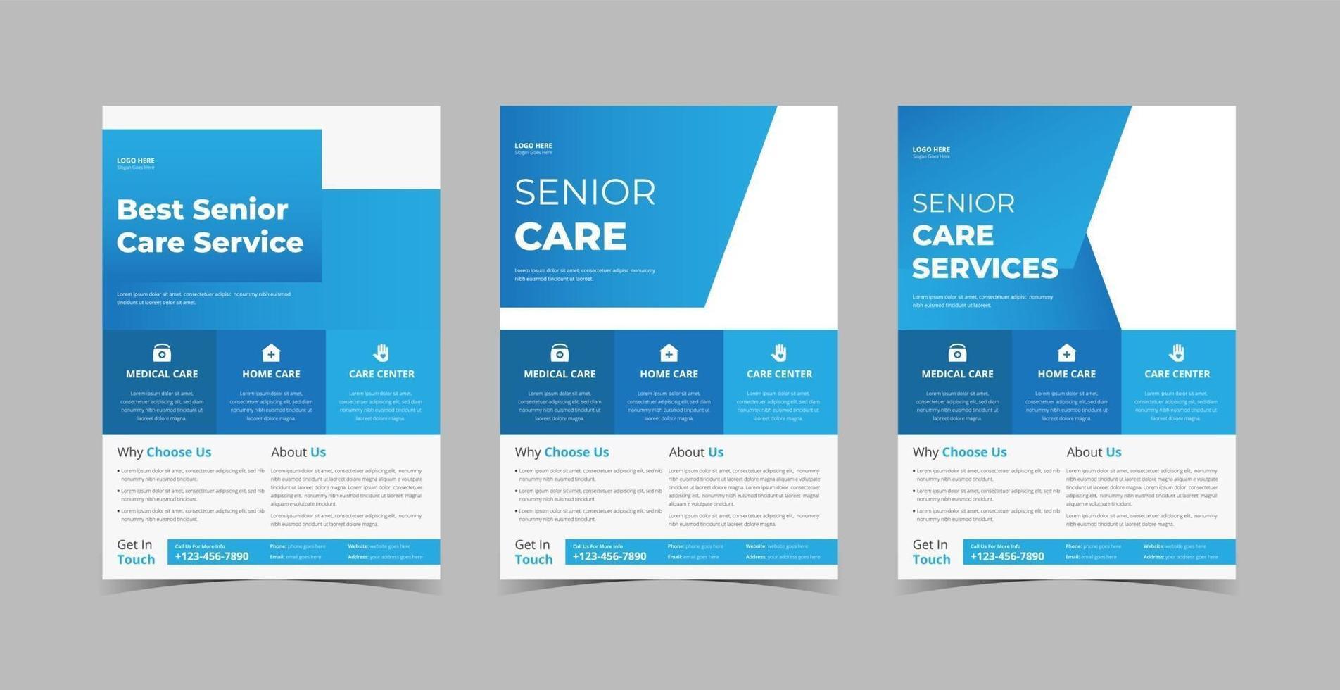 paquete de plantillas de diseño de volante de atención a personas mayores vector