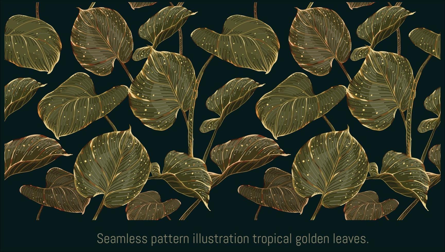 perfecta ilustración tropical hojas doradas vector