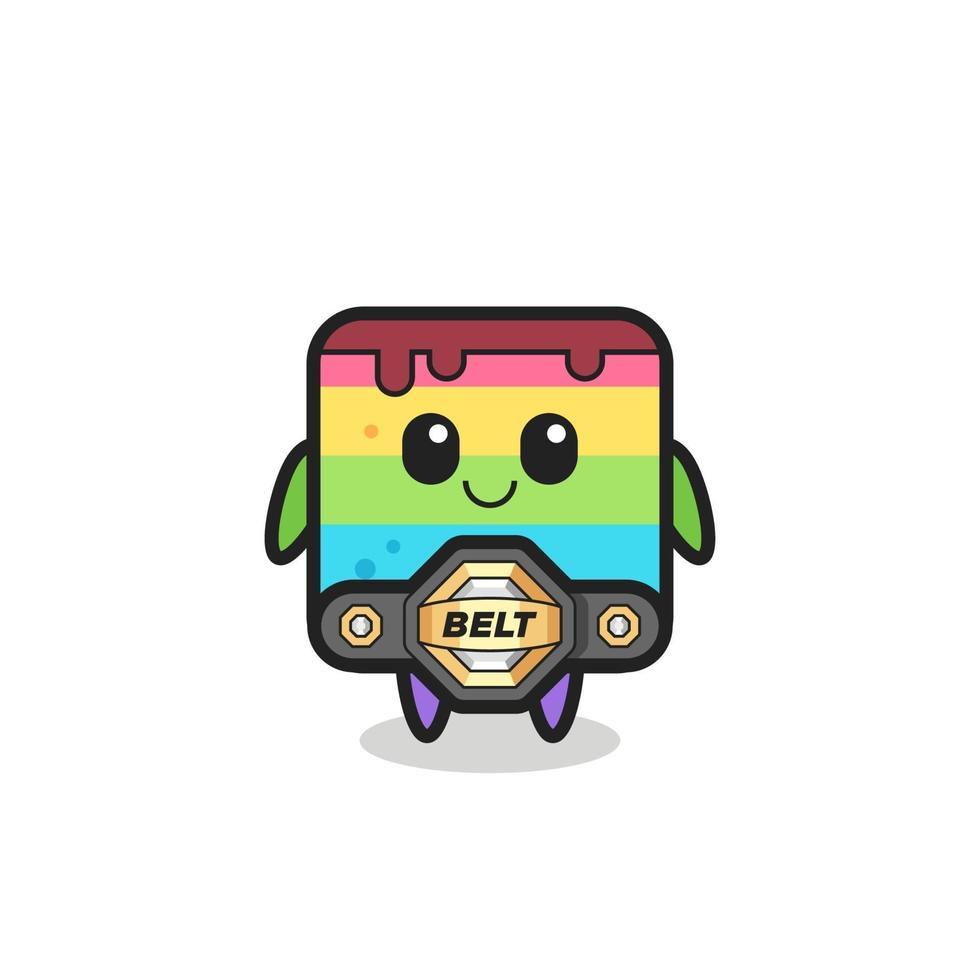 la mascota de la torta del arco iris del luchador de mma con un cinturón vector
