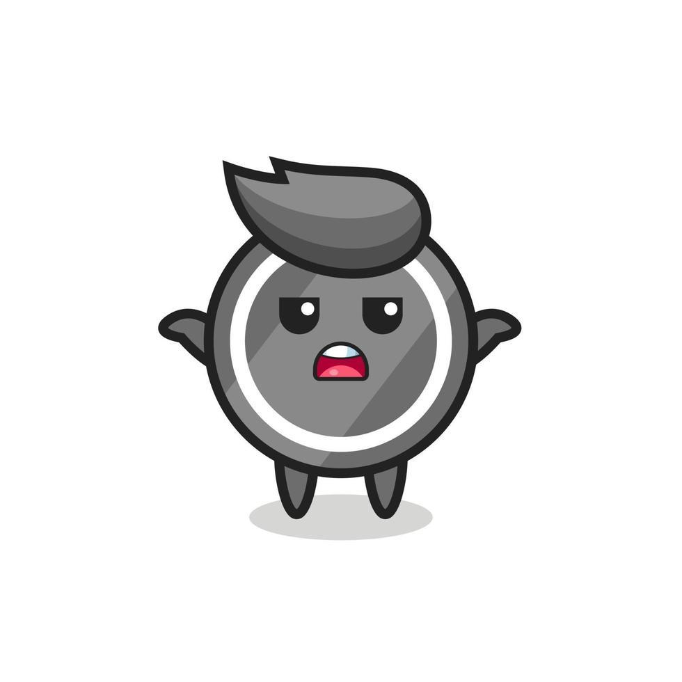 personaje de mascota de disco de hockey diciendo que no sé vector