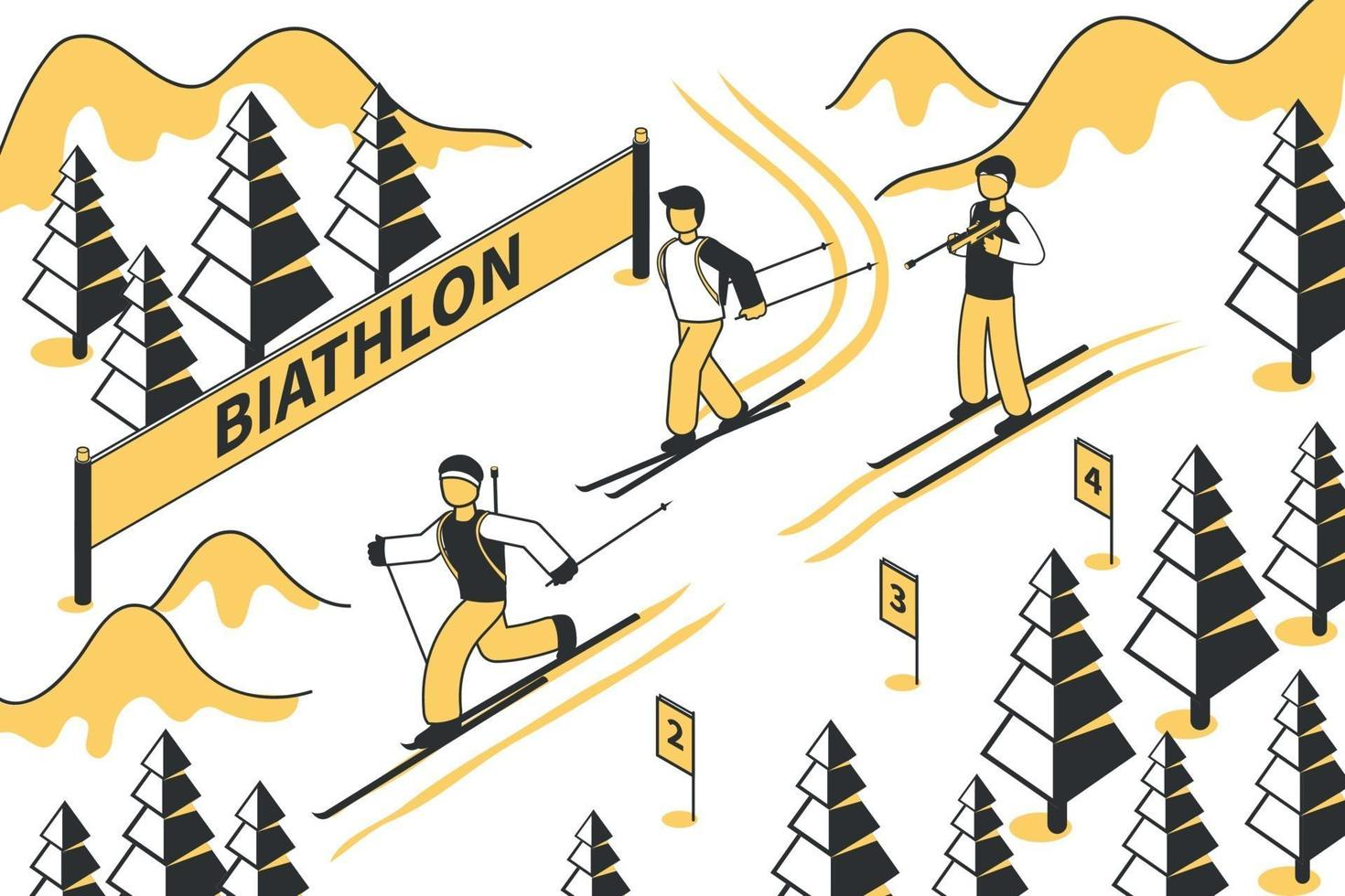 ilustración de la competencia de biatlón vector