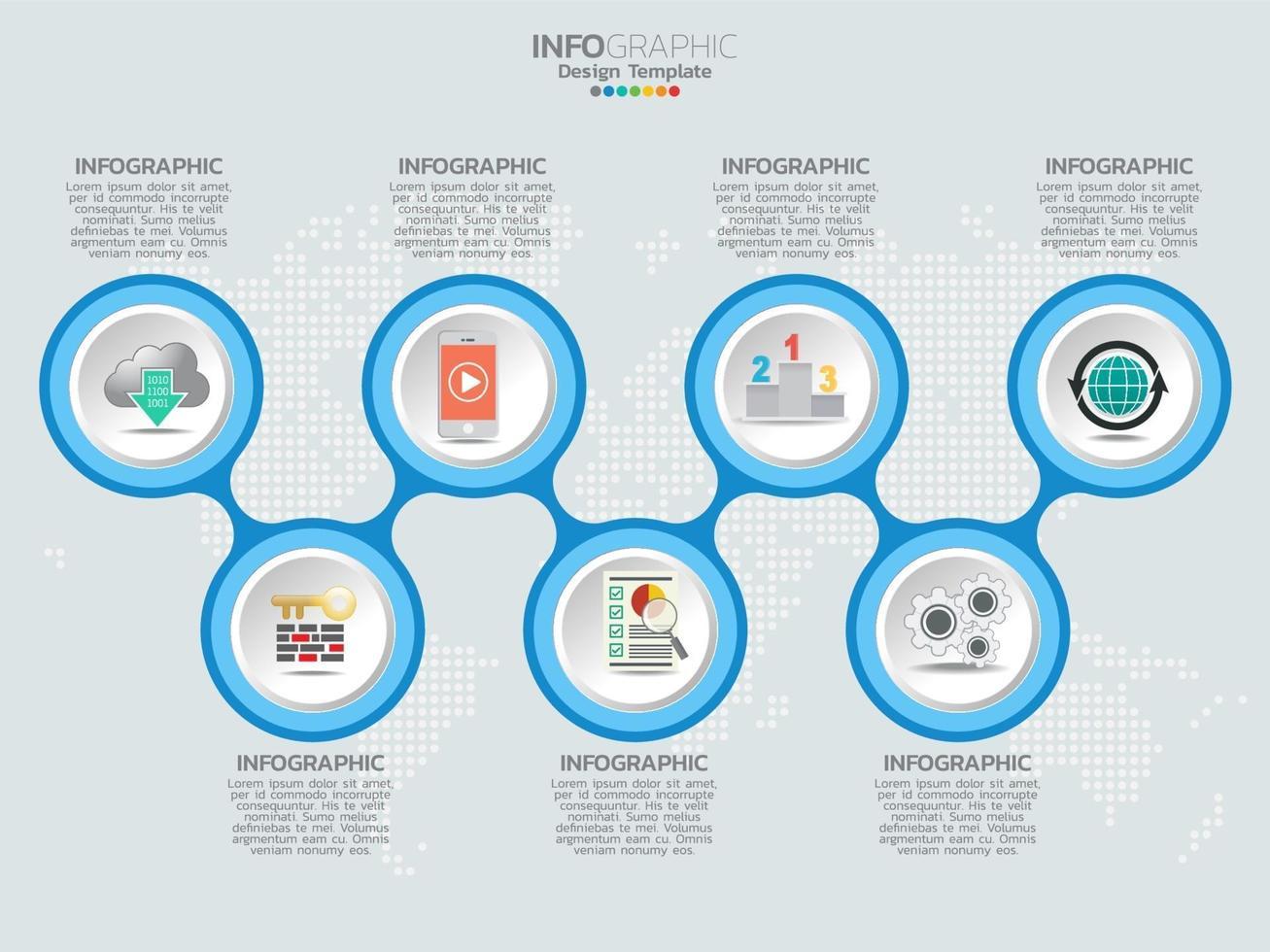 Plantilla de diseño de línea de tiempo de infografía con iconos y etiqueta de texto. vector