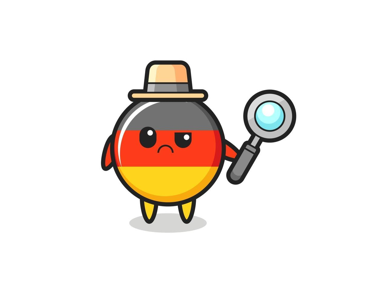 la mascota de la linda insignia de la bandera de Alemania como detective vector