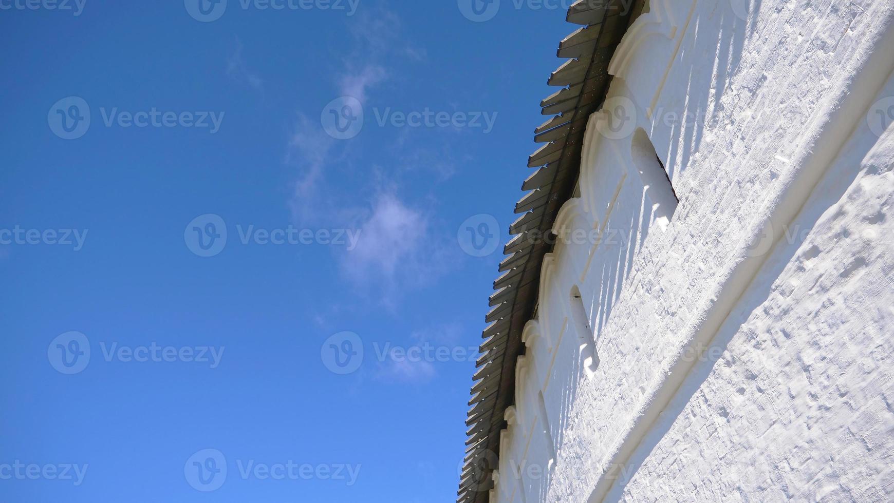 White stone wall in Complex of the Kazan Kremlin Russia photo