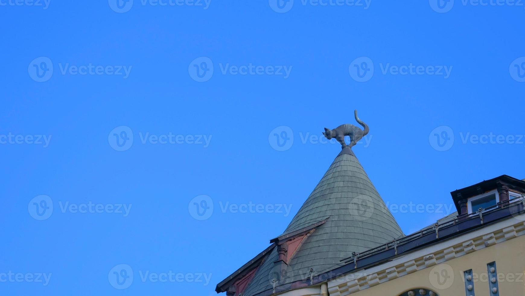 Famous landscape view of architecture The cat house in Latvia old town photo