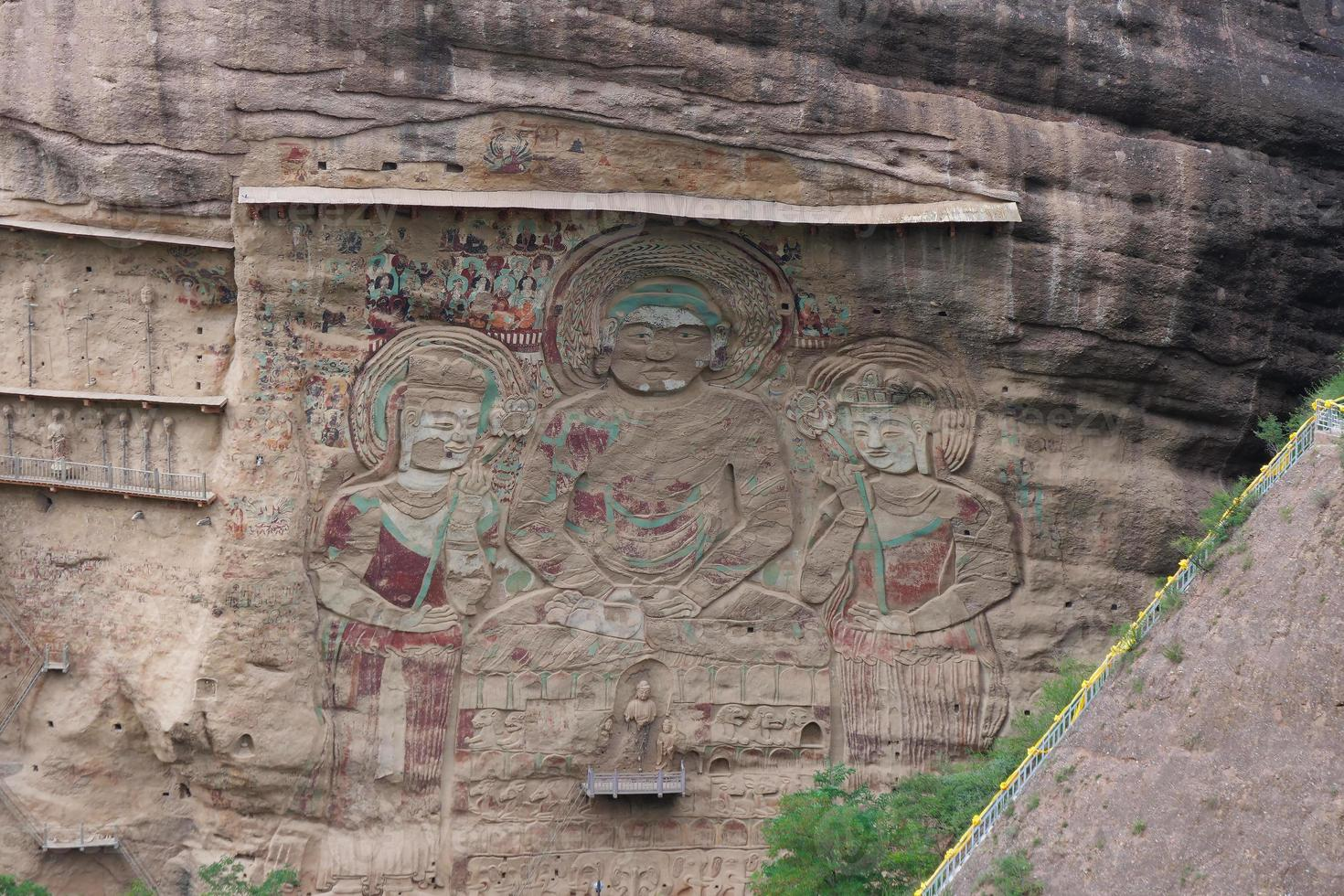 La Shao temple grotto relief painting in Tianshui Wushan China photo