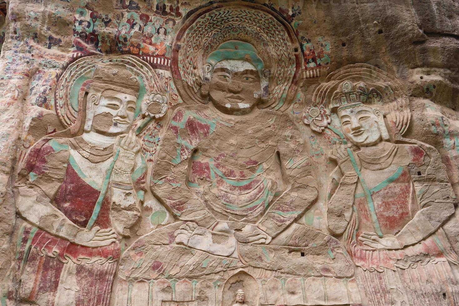La gruta del templo de la Shao pintura en relieve en tianshui wushan china foto