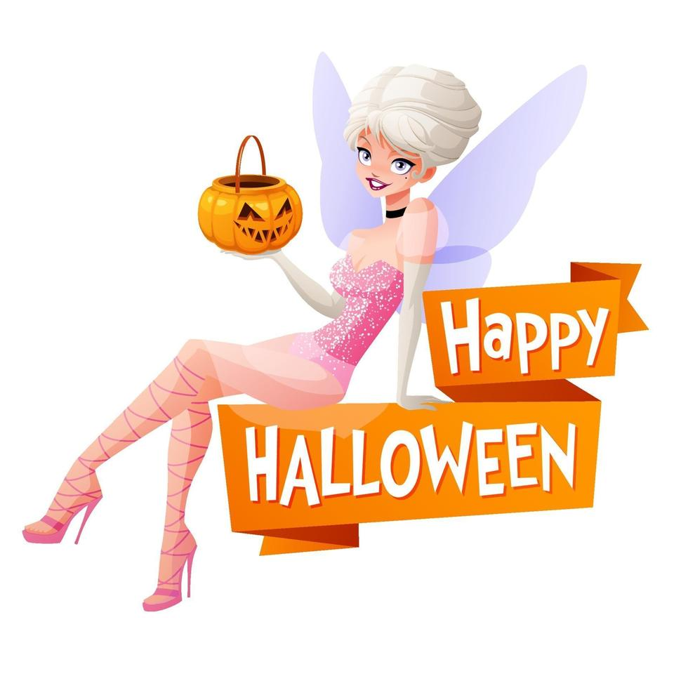 Woman in fairy Halloween costume with pumpkin basket vector
