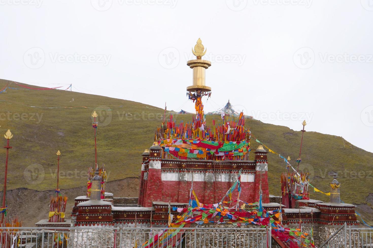 Tibetan Buddhist temple in Laji Shan Qinghai Province China photo