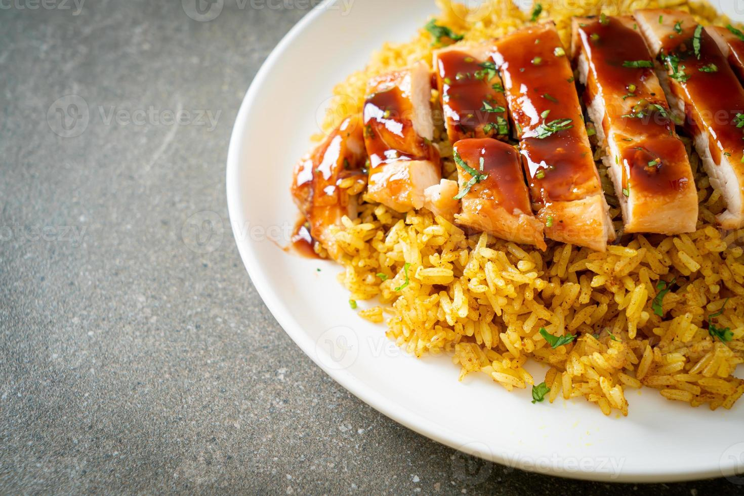 Grilled sweet and chilli chicken with curry rice photo