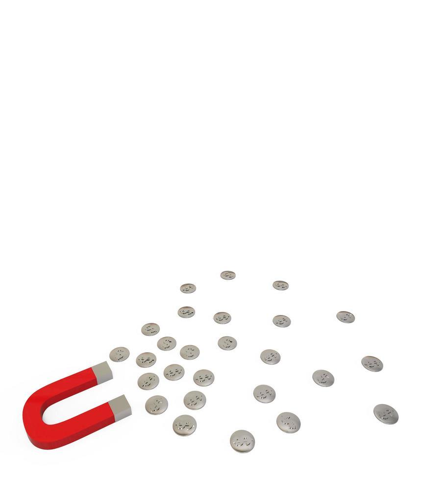 Imán de herradura y monedas de plata aislado sobre fondo blanco. foto