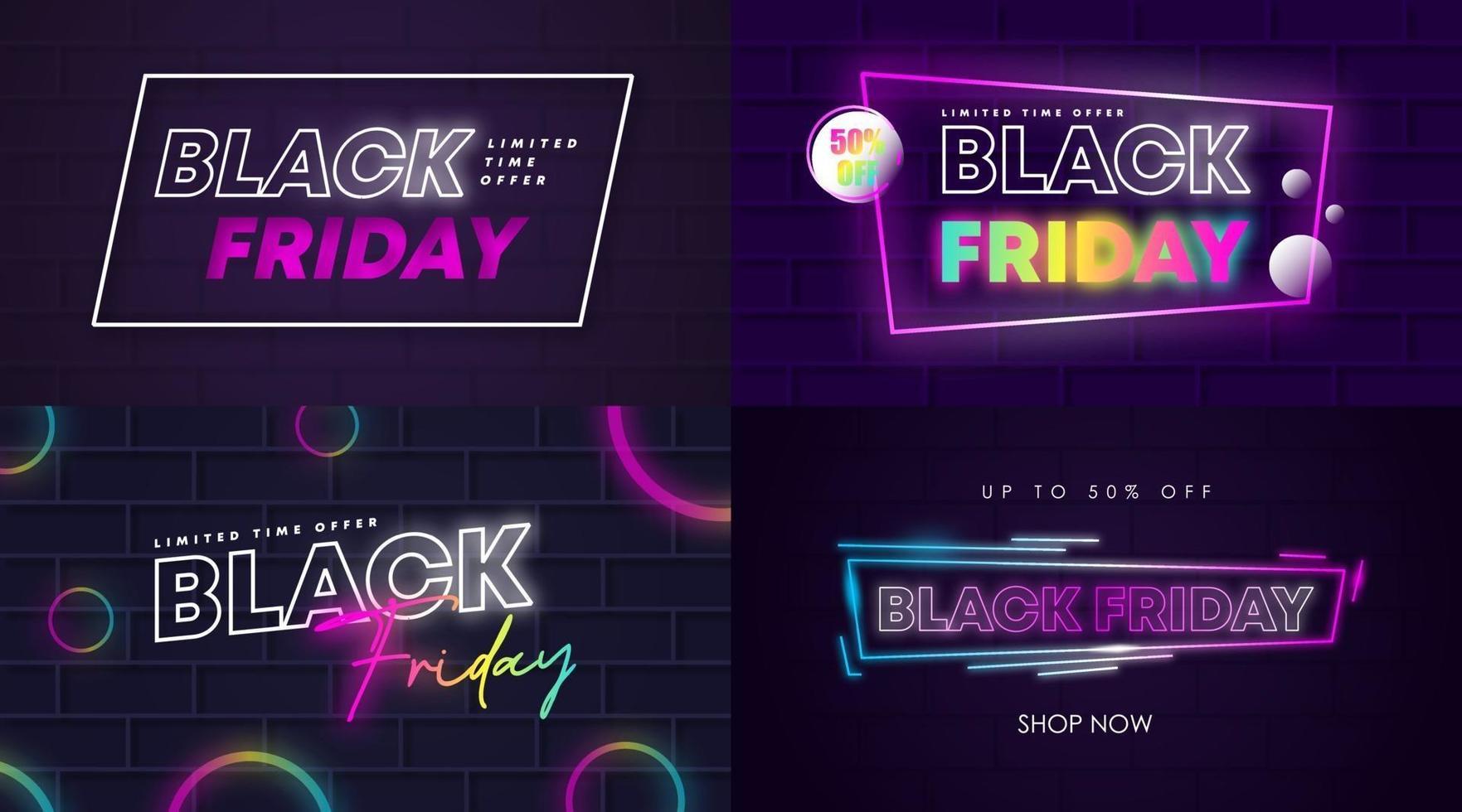 Black friday sale web banner and flyer illustration vector
