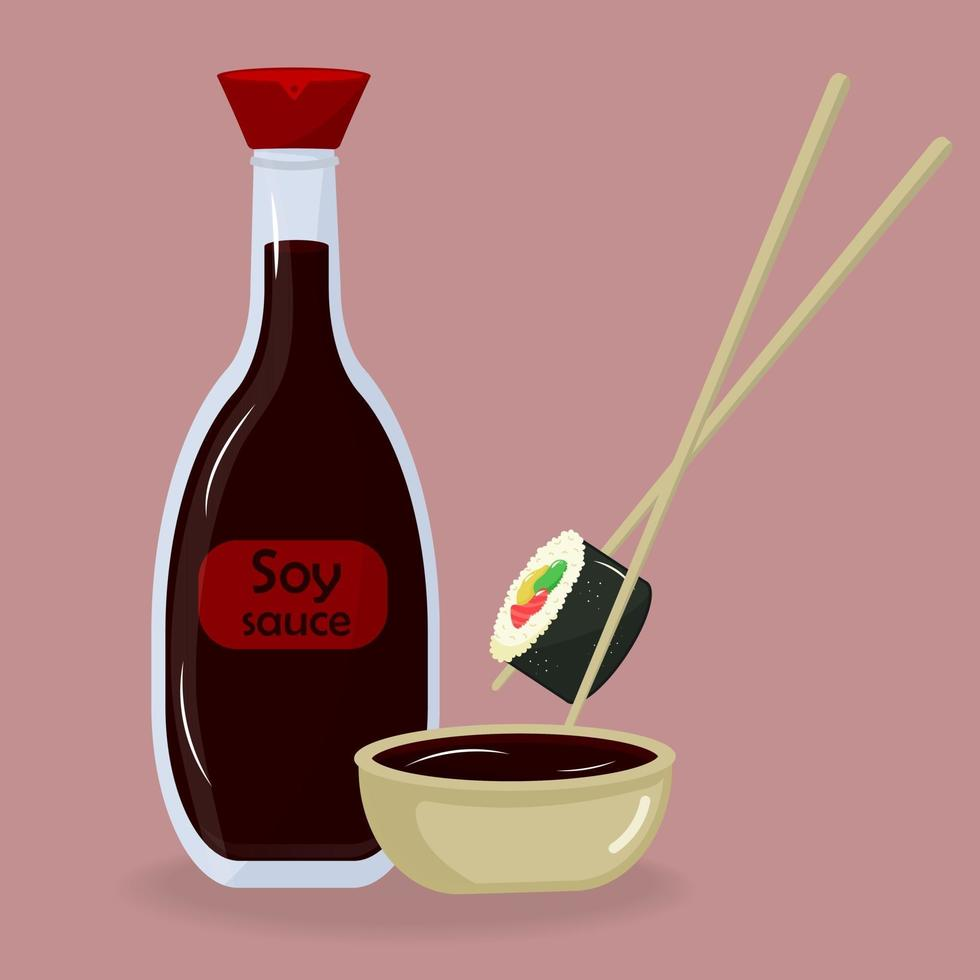 Soy sauce glass bottle, bowl and chopsticks with Japanese sushi roll. vector