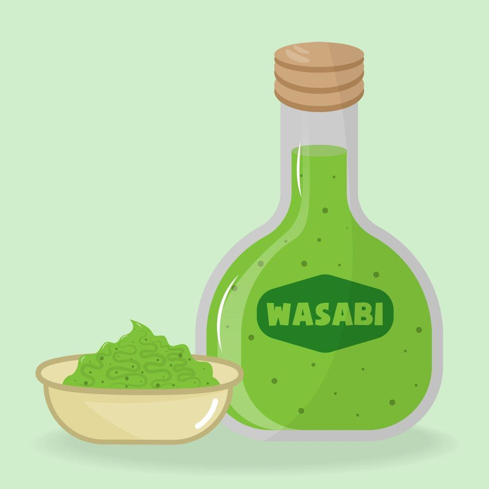 Wasabi sauce in bowl and bottle vector