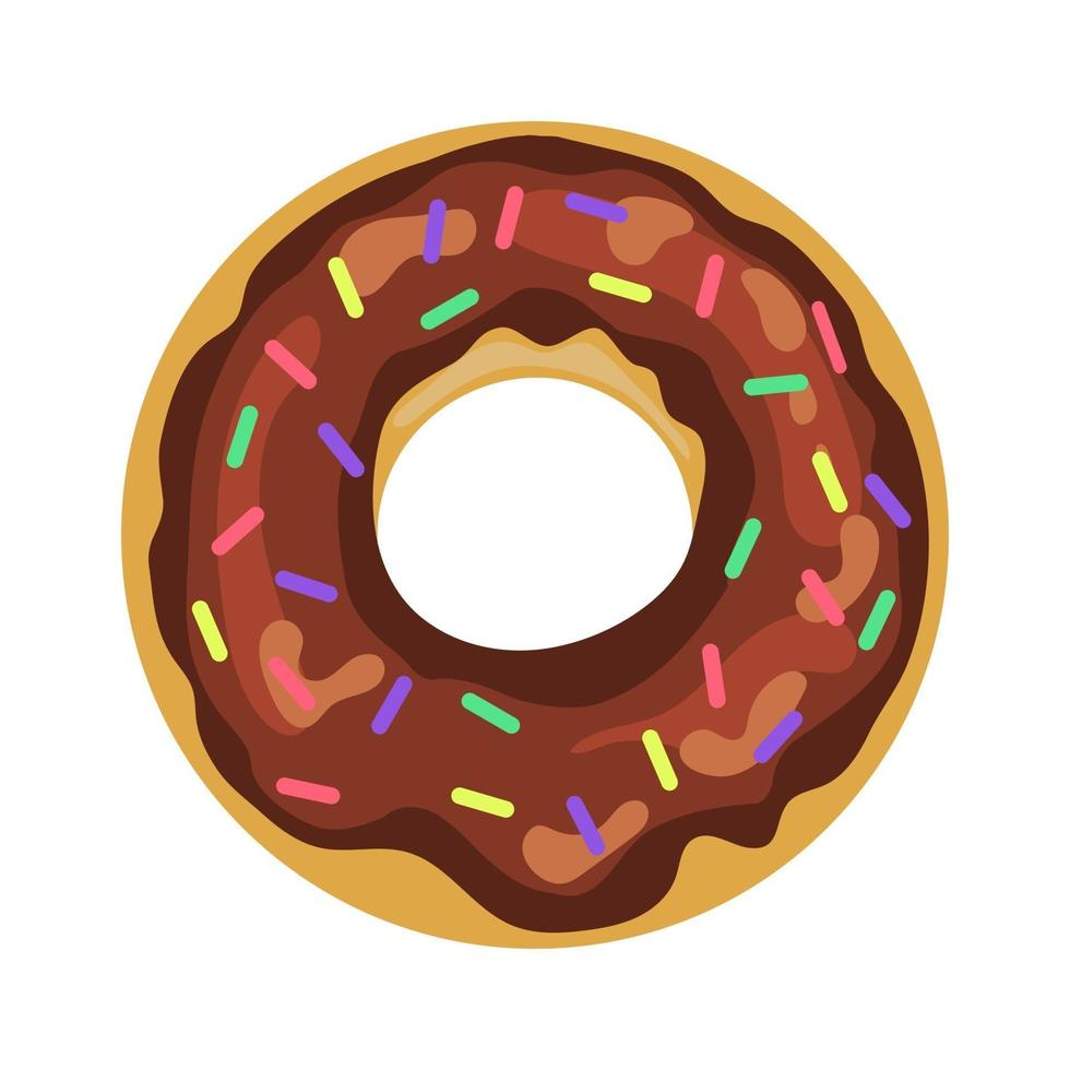 Colorful and glossy donut with sweet glaze and multicolored powder vector