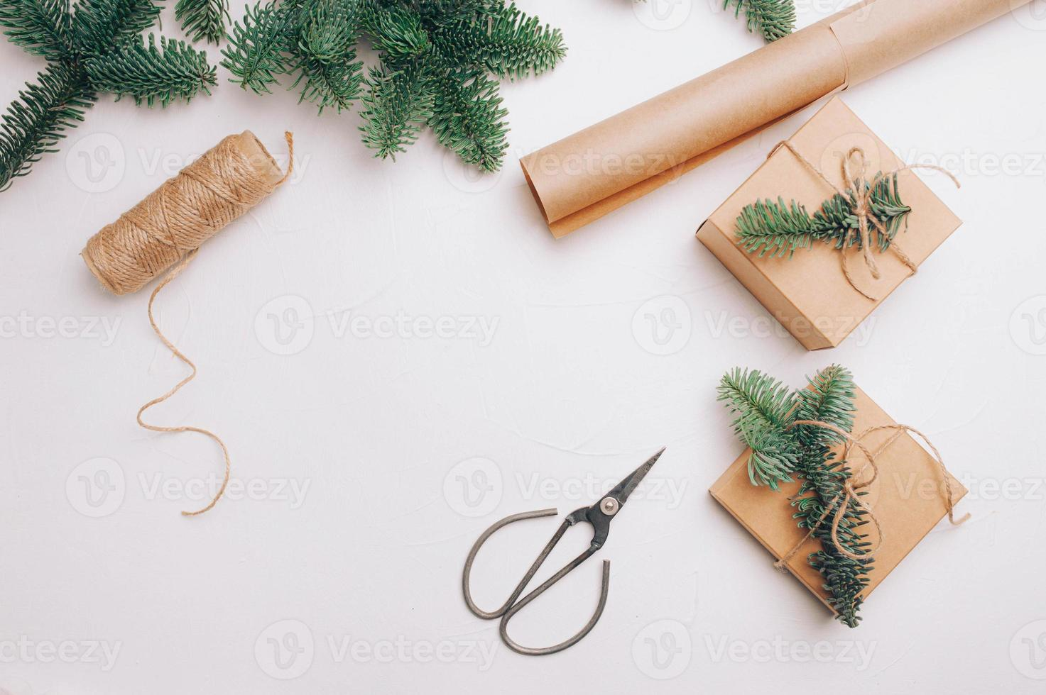 Christmas mock up banner background with snowflakes photo