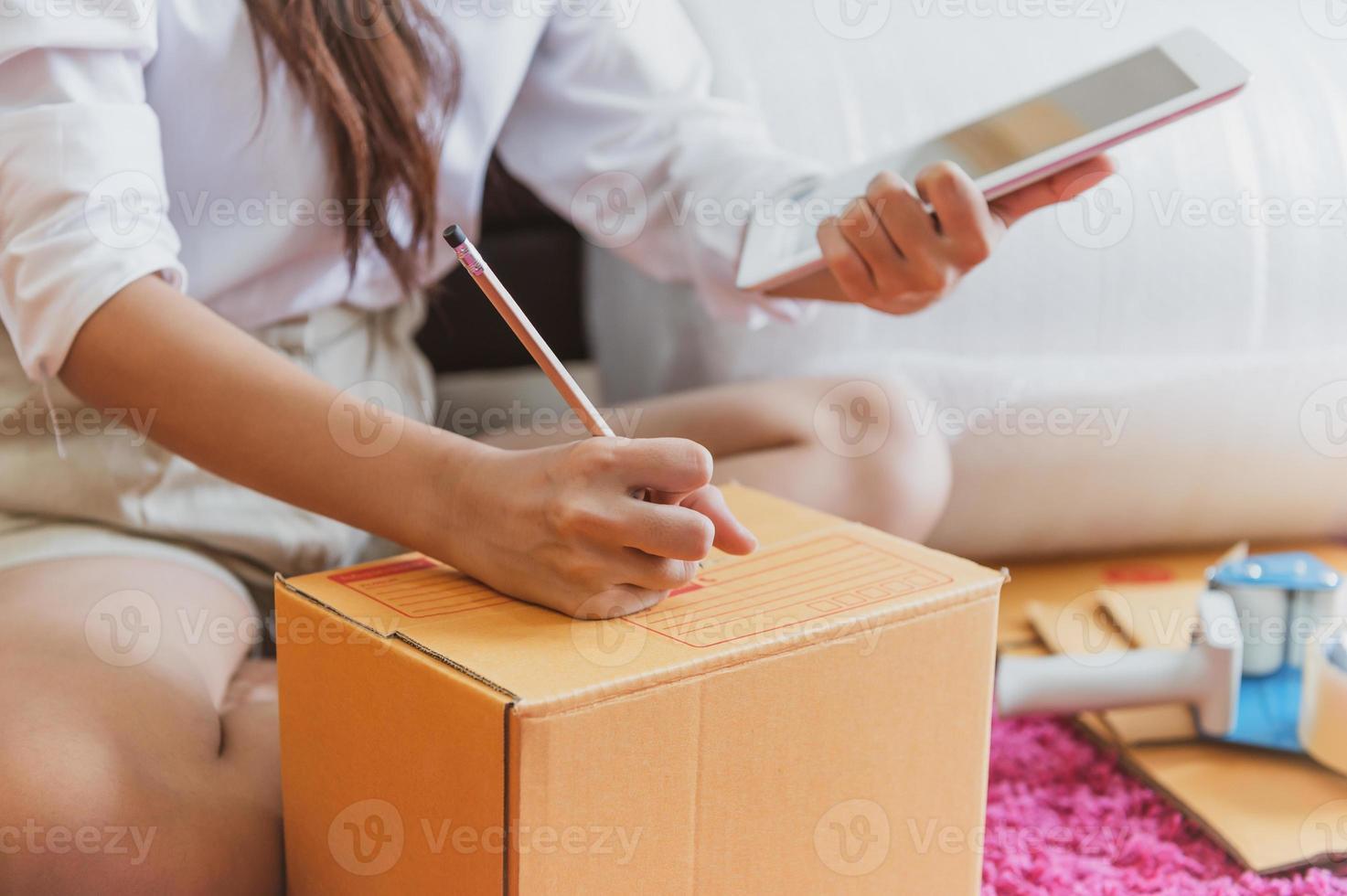 Closeup of Asian business woman hand startup business photo