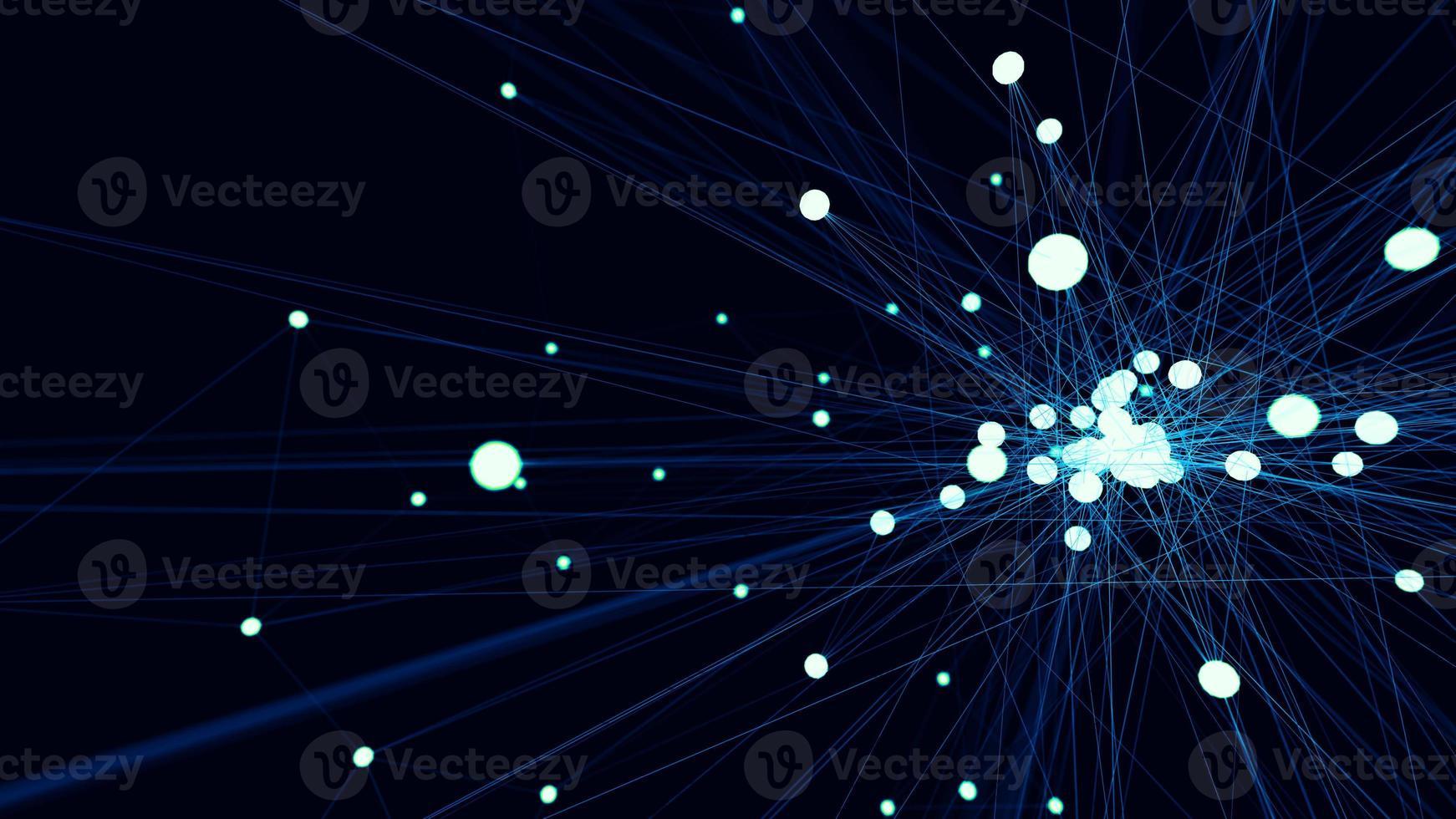 nodo de red de tecnología futurista azul abstracto foto