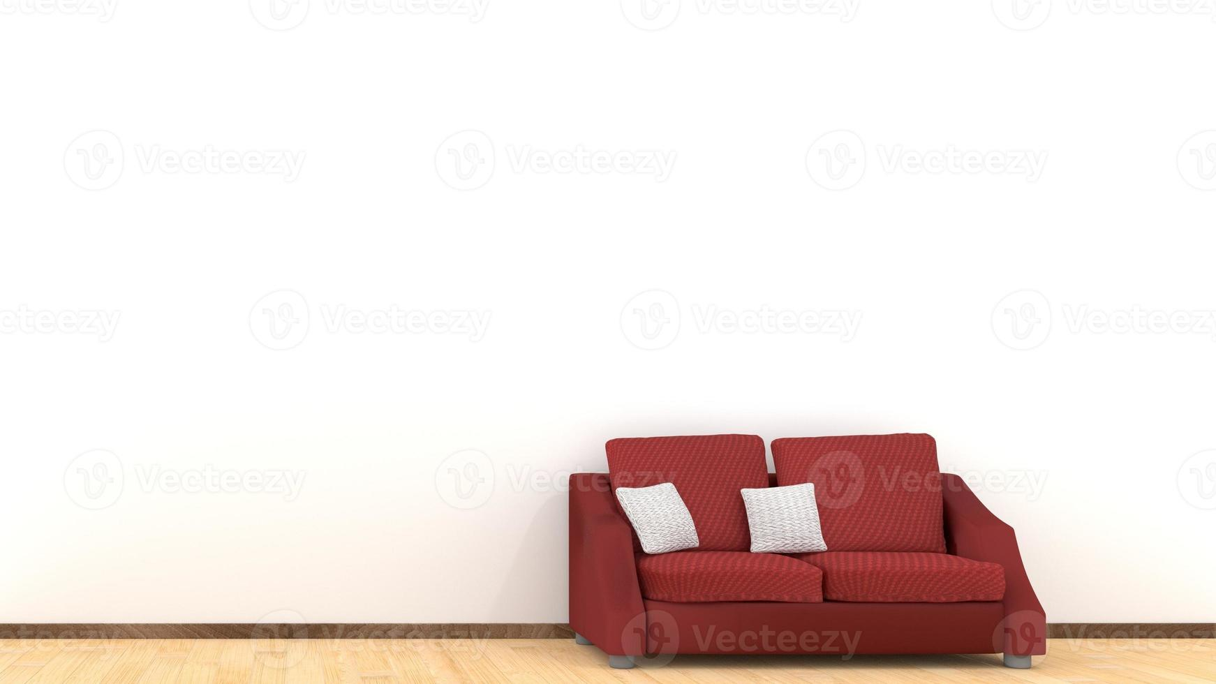 Modern interior design of living room with red sofa on wooden floor photo