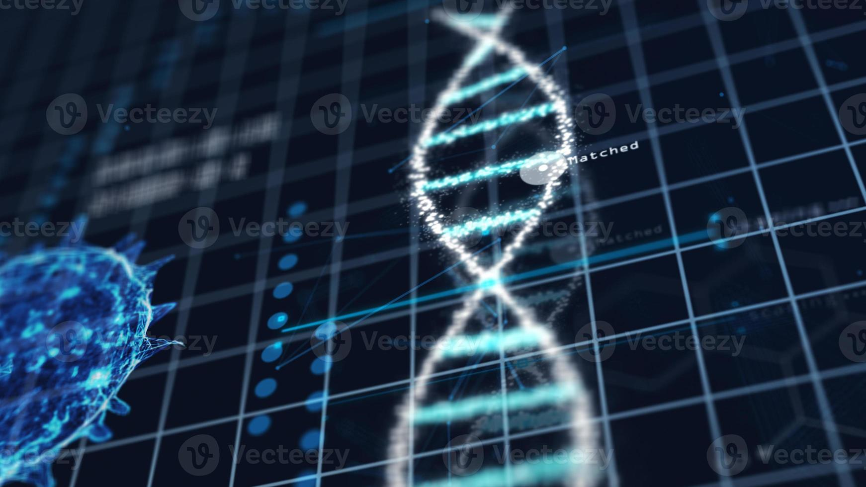 Medical tech spiral DNA Chromosome in virus analysis laboratory photo