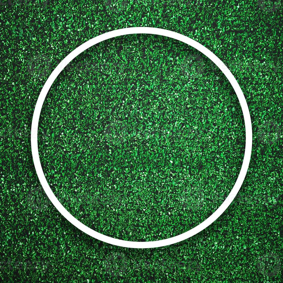 Circular white frame edge on green grass with shadow background photo