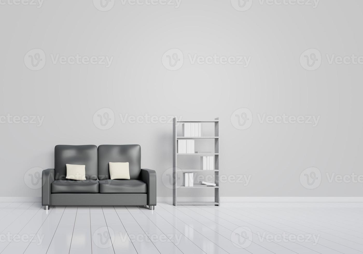 Modern interior design of living room with black sofa with grey photo