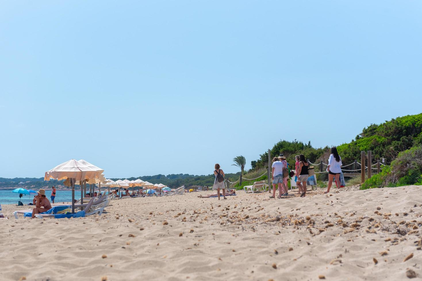 People on Migjorn beach in Formentera in Spain in Times of COvid 19 photo