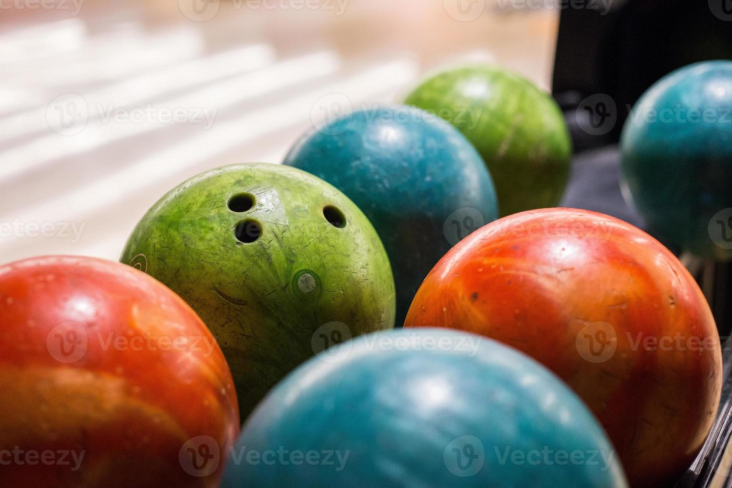 Bowling balls on a court in Rio de Janeiro, Brazil photo