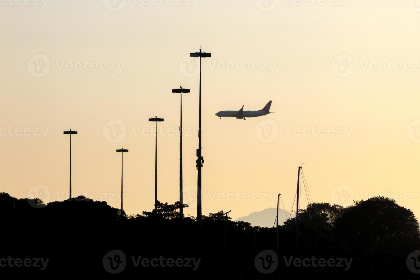 Airplane silhouette on the embankment of the Flamengo, Rio de Janeiro photo