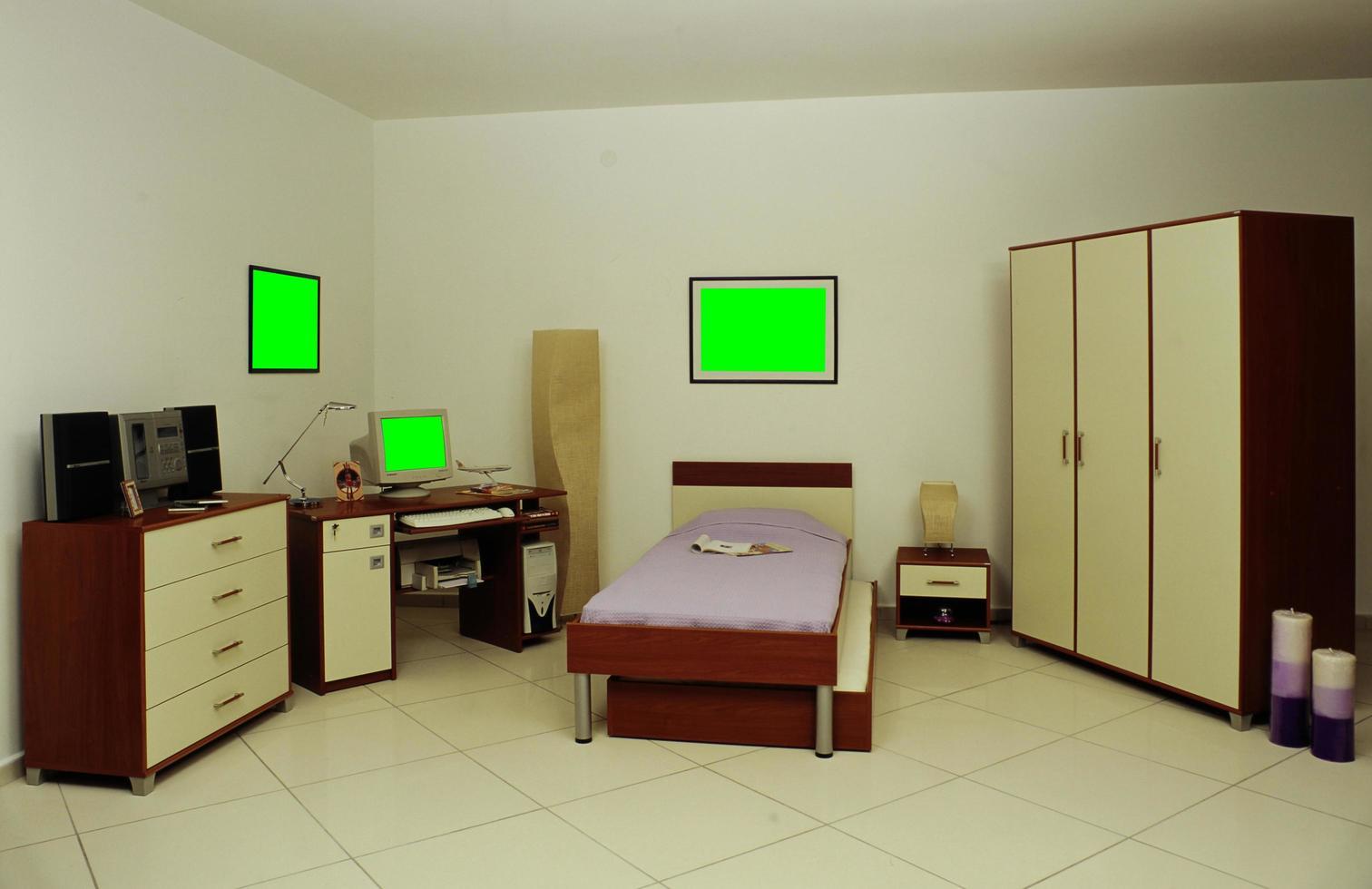 escritorio, biblioteca, cama y armario para habitaciones infantiles foto