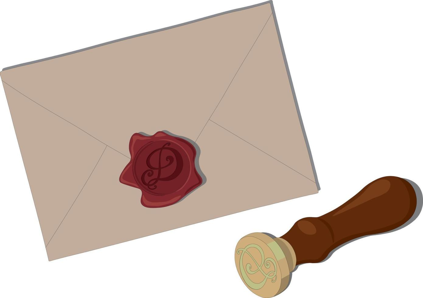 Paper letter with monogram and stamp vector illustration