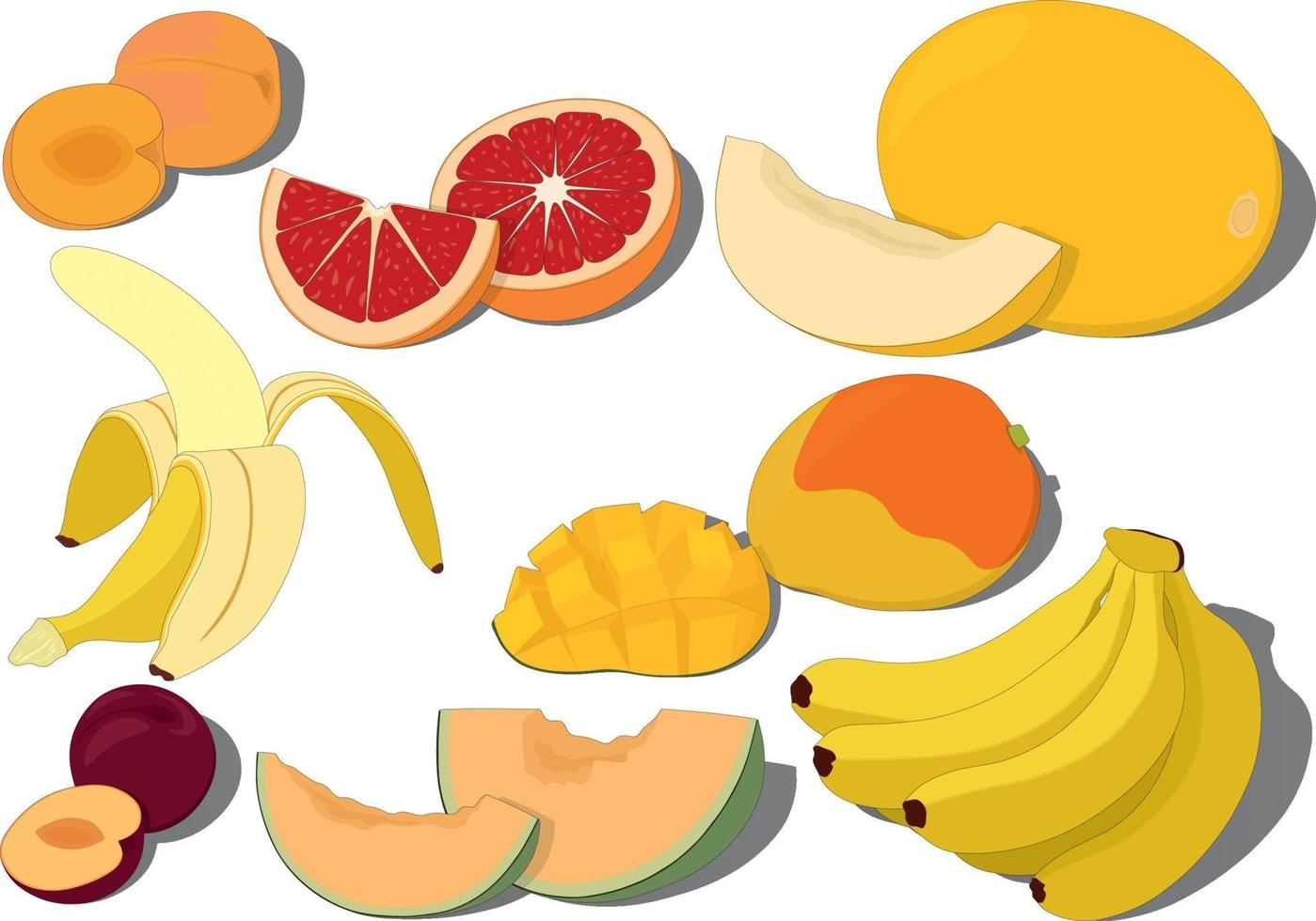 Sweet ripe fruits collection vector illustration