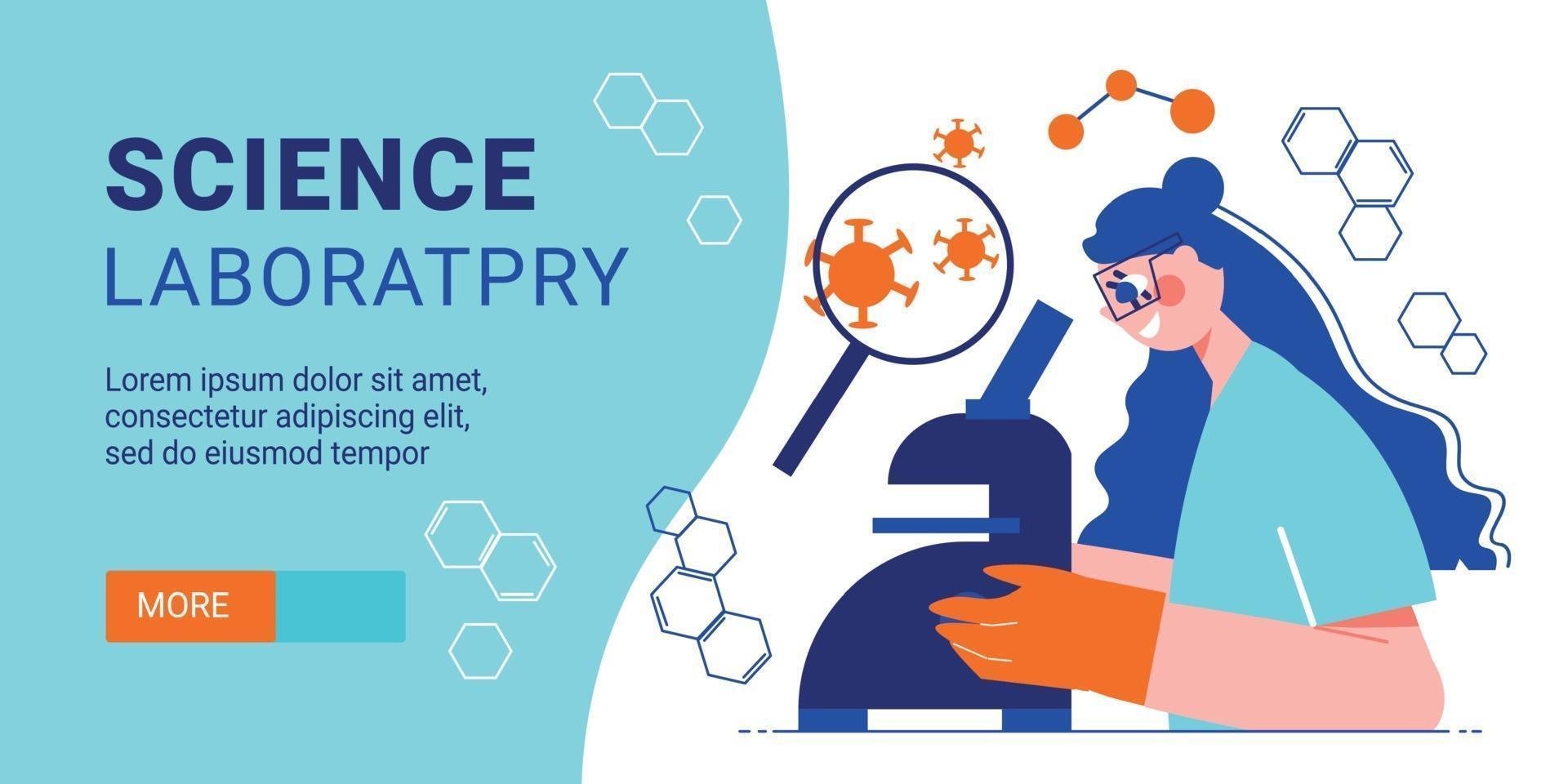 Science Laboratory Horizontal Banner vector