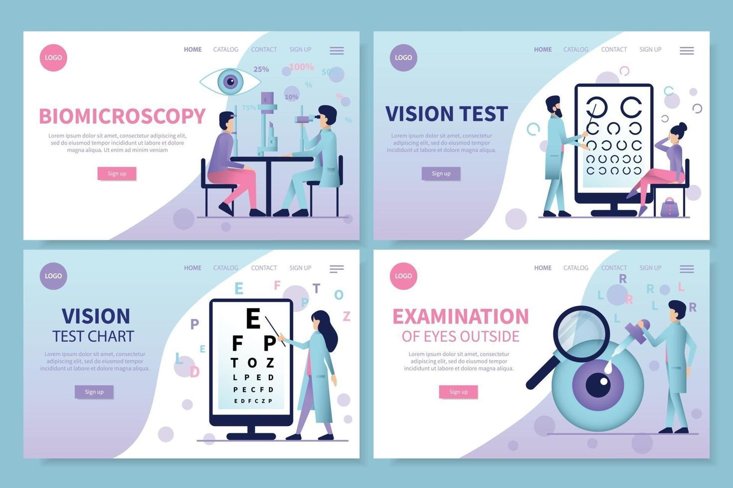 Ophthalmology Landing Pages Set vector