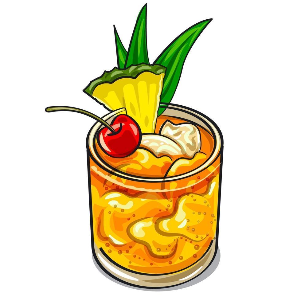 Mai Tai cocktail vector