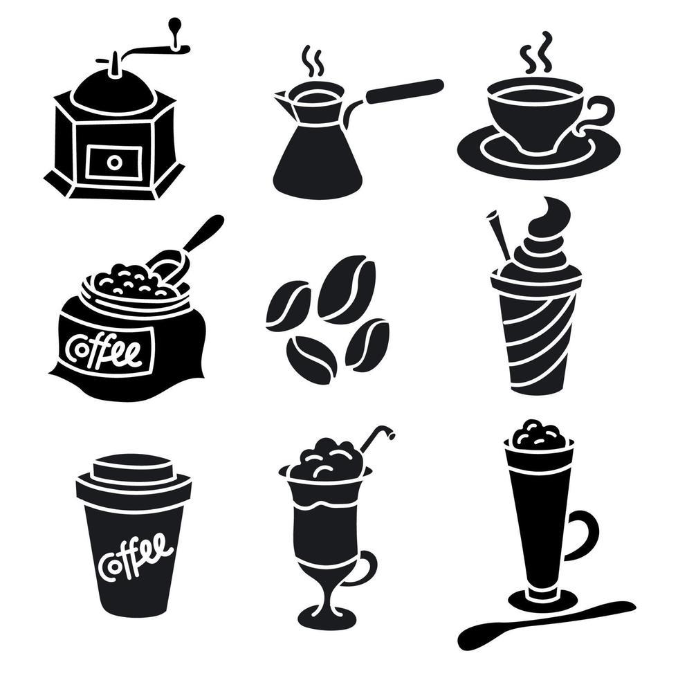 coffee drinks icons set vector