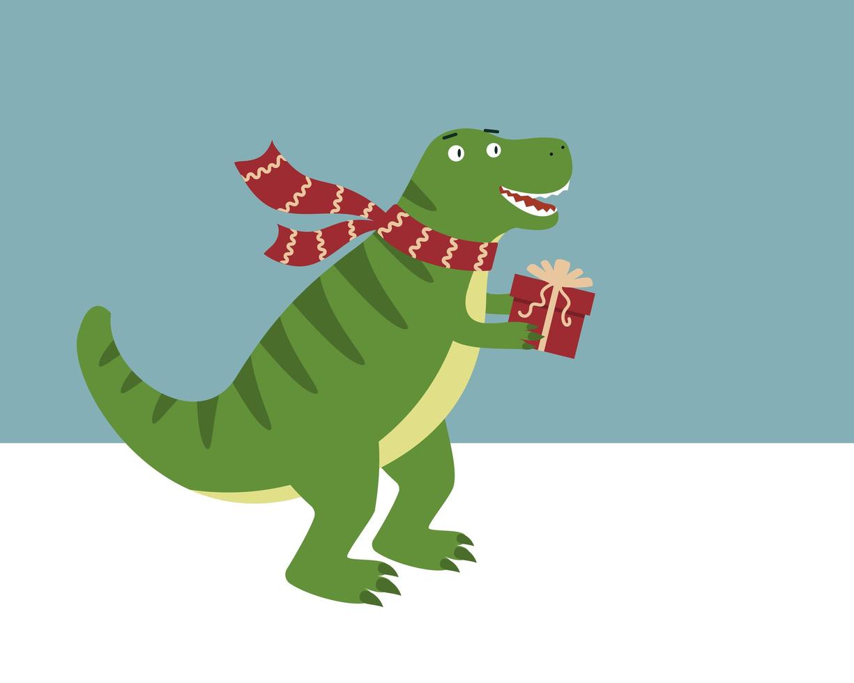 dinosaur in scarf with christmas gift. vector